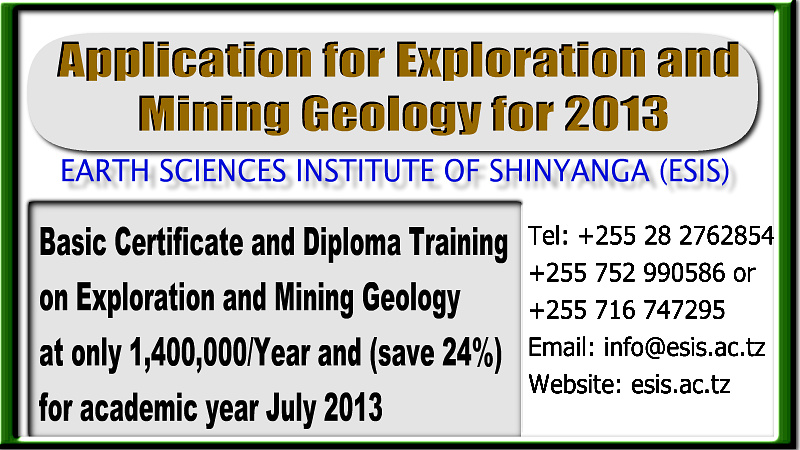 July 2013 Offer on Exploration and Mining Geology Certificate and Diploma Course