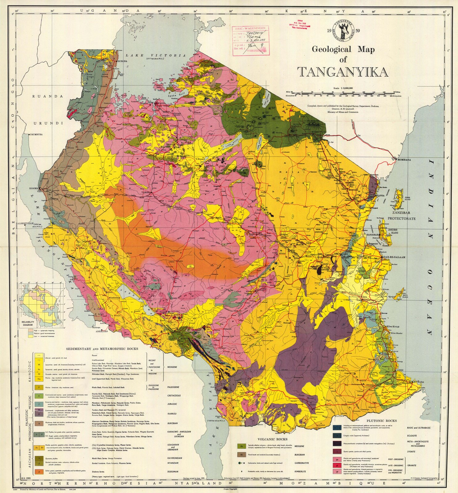 Geological Map of Tanzania-Tanganyika