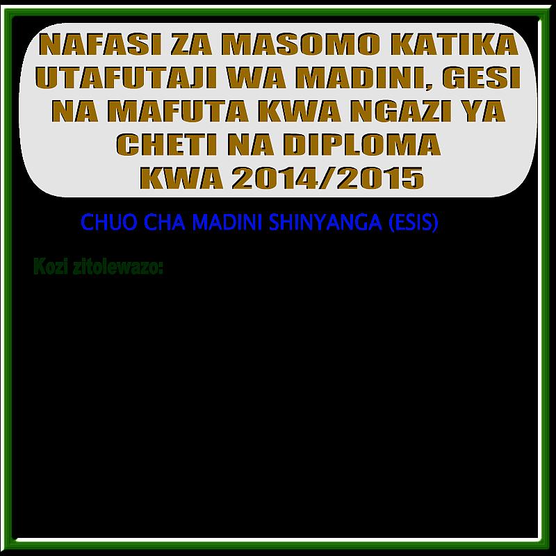 NAFASI ZA MASOMO KWA 2014 - 2015